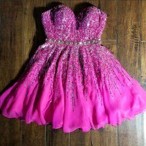 Sherri Hill Pink strapless Sequin mini dress 0